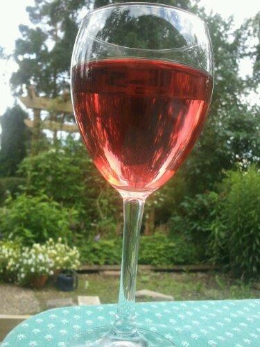 Ett glas kallt rosévin till maten