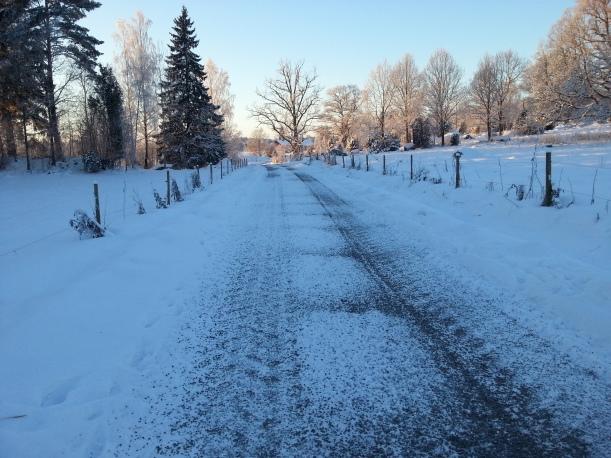 Tyvärr  grusade bonden vägen pga att det skulle köra stora tankbilar där, ingen mer sparkåkning här inte