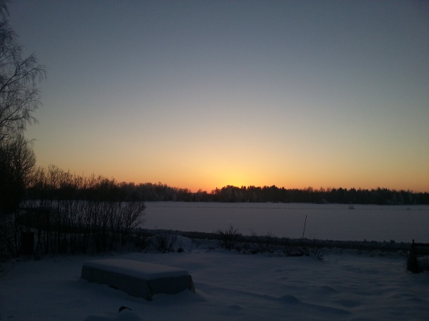 Solnedgång efter härlig dag