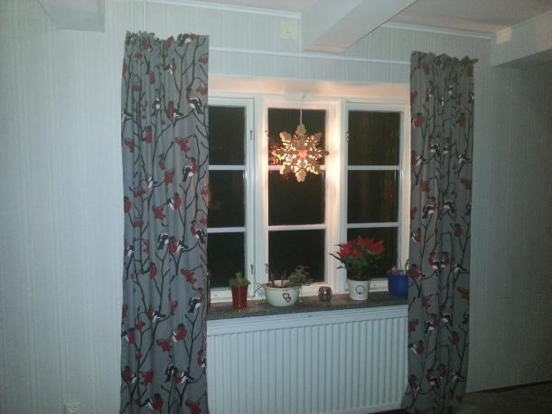 Nya jul/vintergardiner i vardagsrummet, lite tråkigt ljus med blixt dock