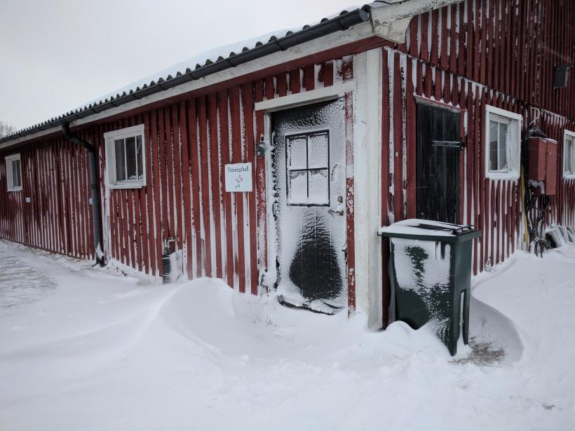 Träningshallen - man skulle ju kunna tro att vi bor i Norrland...